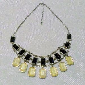 Silver Tone Black Tan Faceted Acrylic Bib Necklace